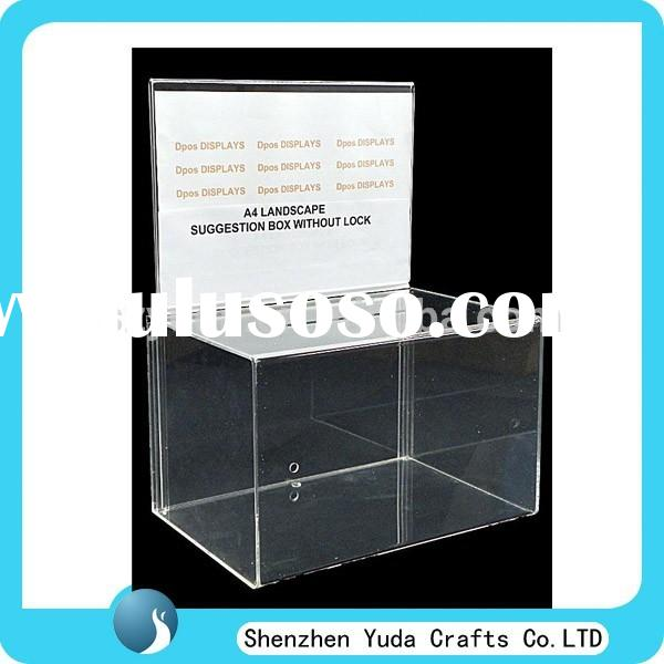 in high demand cheap plexi donation box , acrylic collection cans for money cash ballot raffle box