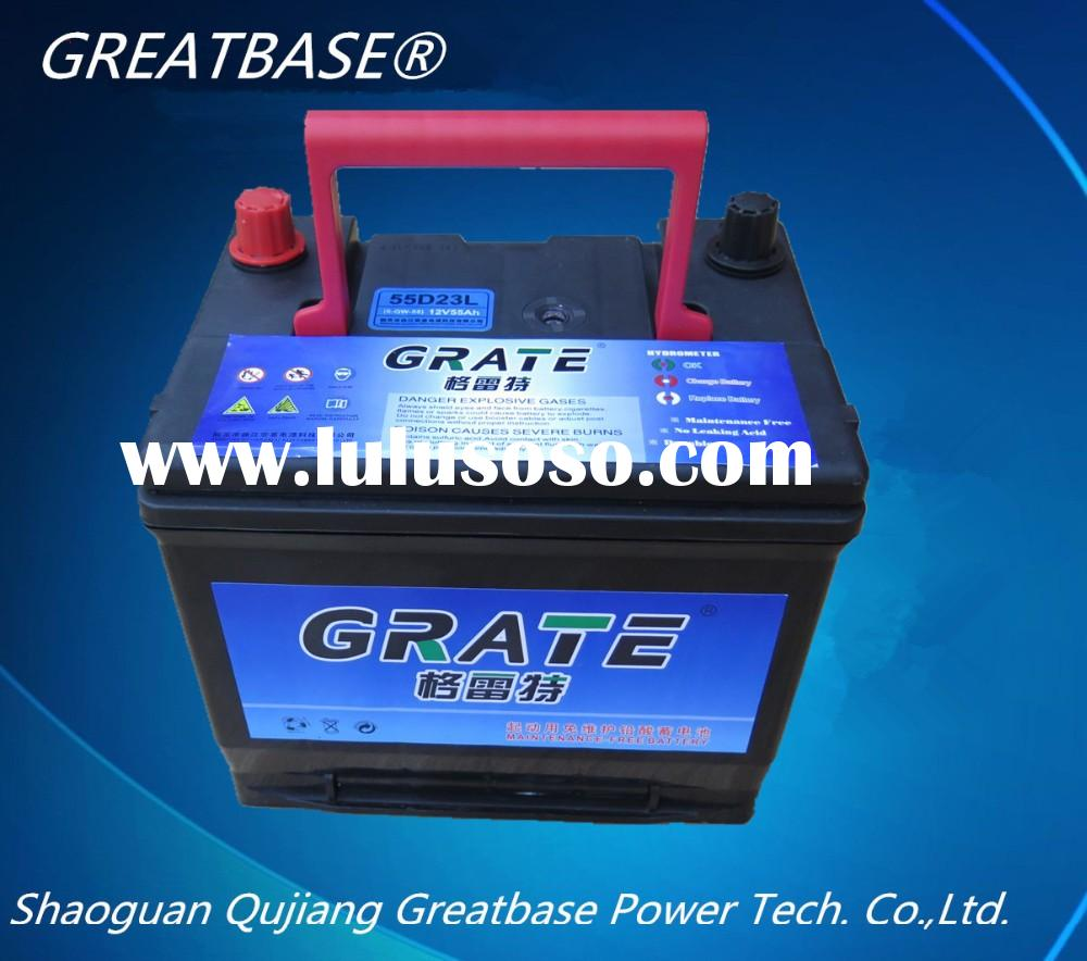 maintenance free rechargeable Auto Car Battery 55D23L-mf , 12v 60ah battery