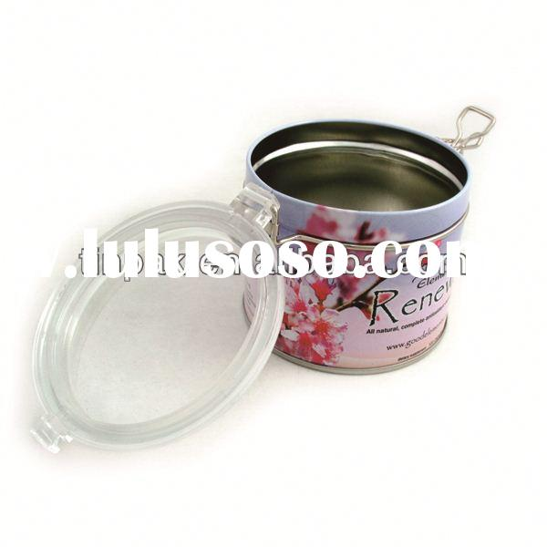 round tea tin with clear lid factory supplier