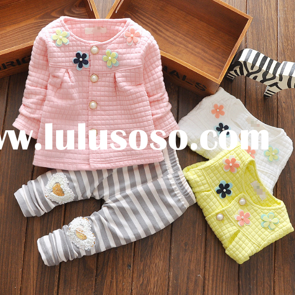 tc5291 baby girl clothing flower printed two piece cute little girl outfits for autumn