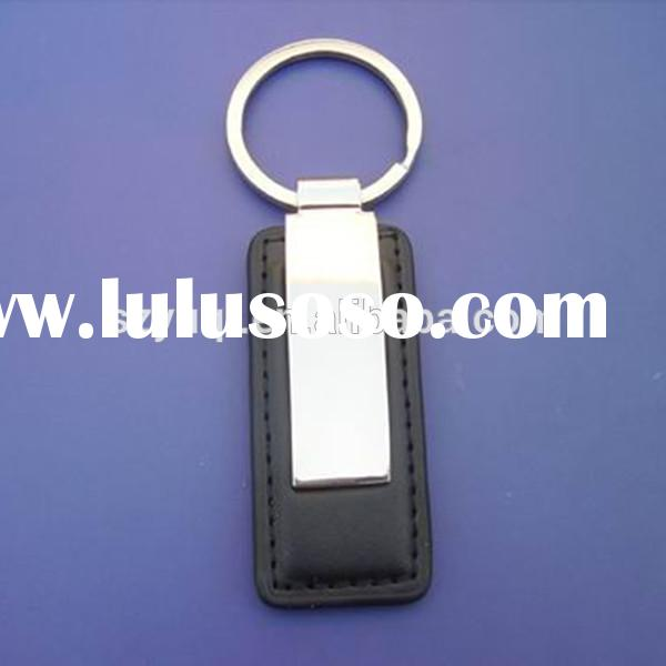unique luxury black leather keychains for men logo can be customized