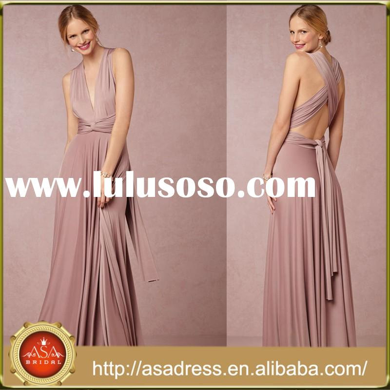 BD65 Top Quality Elastic Woven Satin Girl Evening Gowns Convertible Pink Bridesmaid Dresses Cheap