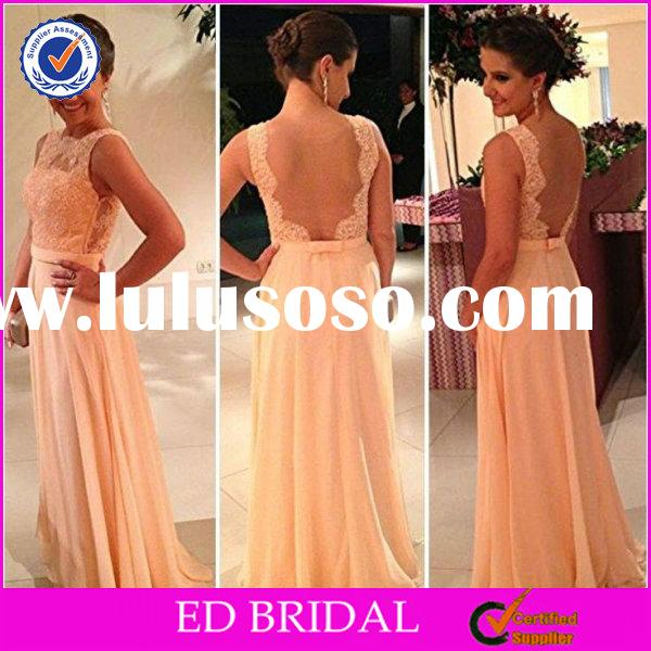 Cheap Lace Bodice Sleeveless Backless Bridesmaid Dresses Plus Size Champagne(ED-BN30)