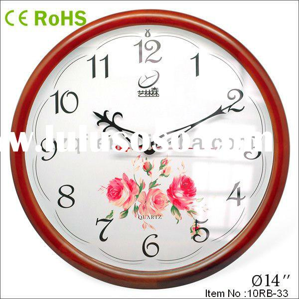 14 inches Recycled Eco-friendly wood material quartz wall clock