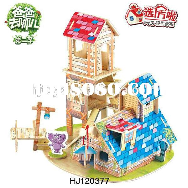 2015 New Product Educational DIY Toys Forest Villa Puzzle Game, DIY 3D puzzle House Toys