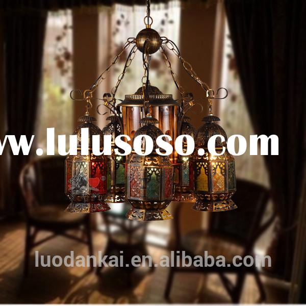 Antique brass hanging stained glass lamp