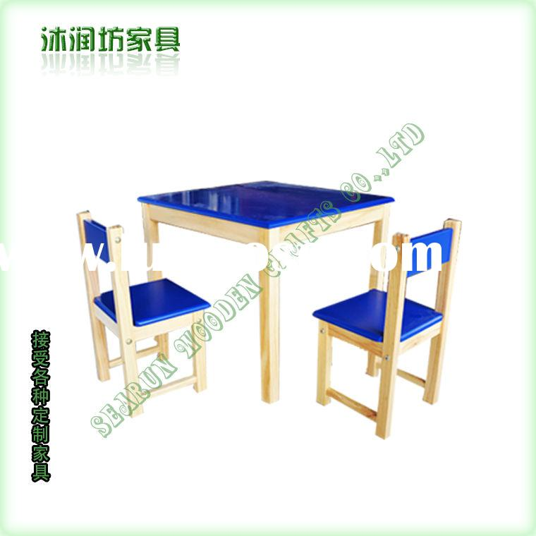 Blue children's wooden tables and chairs