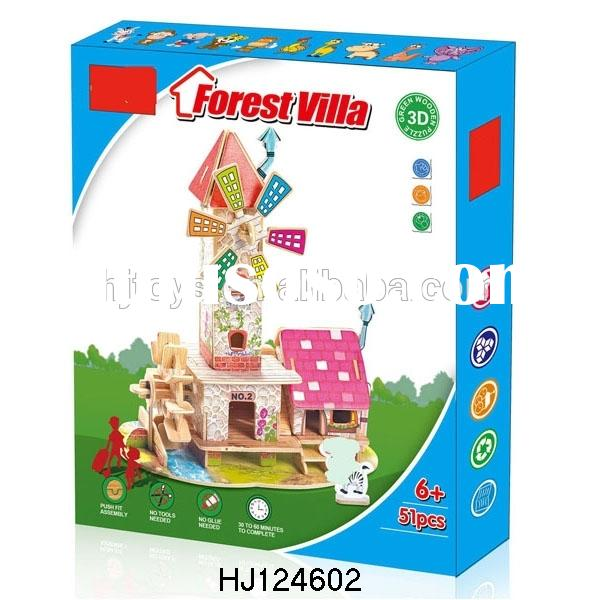 Educational DIY 3D Puzzles Toys Wooden Forest Villa, DIY 3D Puzzles Game Toys