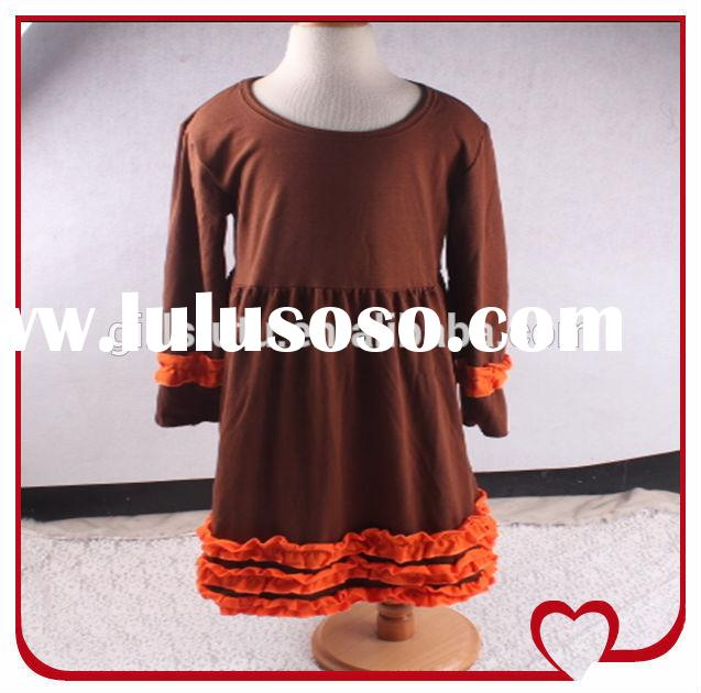 Latest Western Casual Wear Dresses Patterns For Girls Long Sleeve Ruffle Girls Cotton Frock Designs