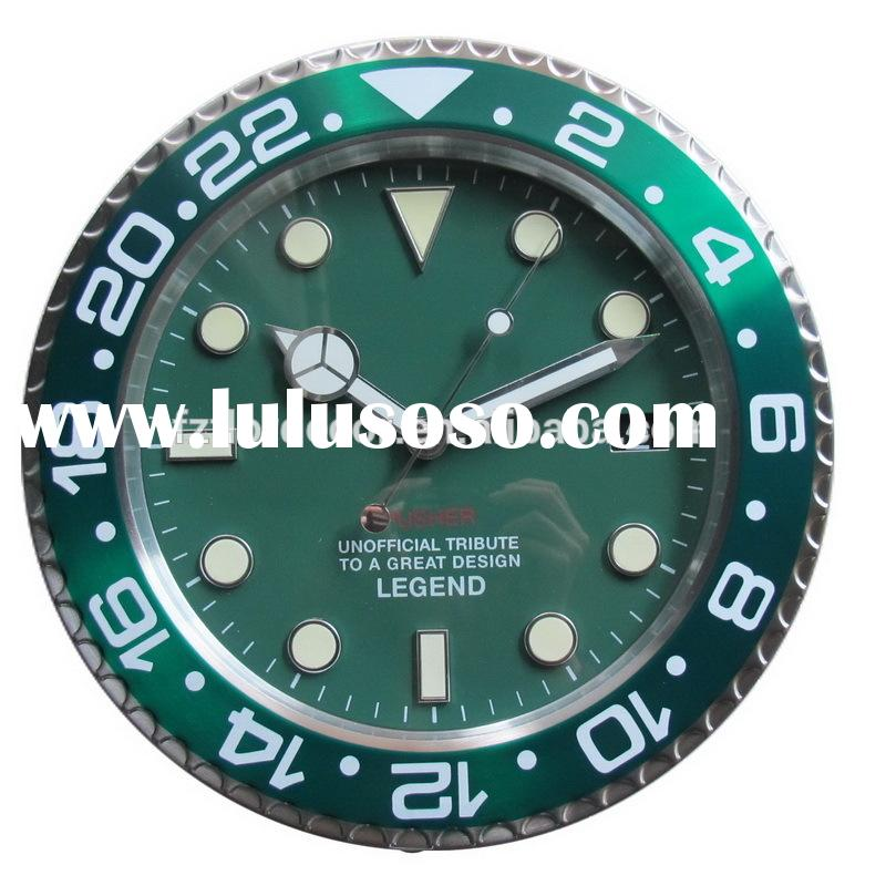 Metal wall clock promotional 14 inch green metal wall clock watch design decoration wall clock