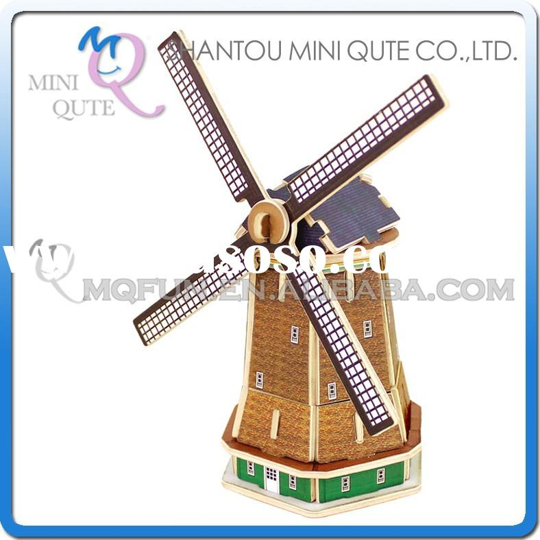 Mini Qute 3D Wooden Puzzle Dutch windmill world architecture famous building Adult kids model educat
