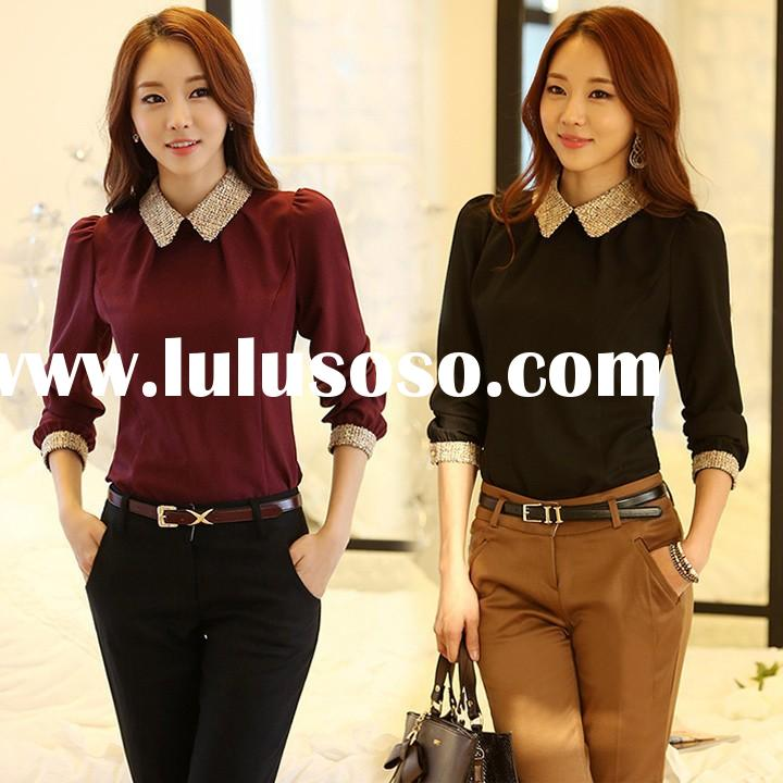 New Fashion Women Long Sleeve Chiffon office uniform designs for women blouses SV009726