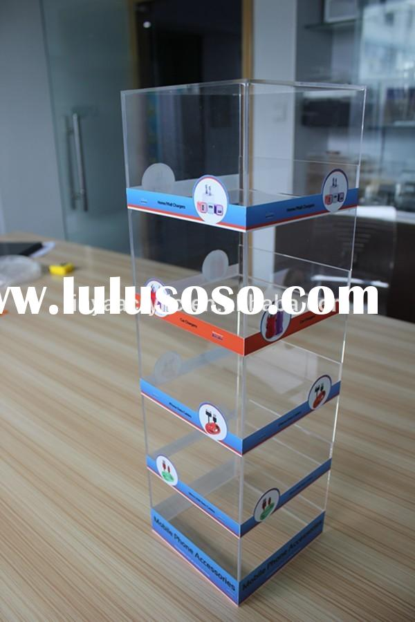 Wholesale New Products 5-tier Clear Glasses Phone Chargers Stand Display Case Acrylic Desk Phone Acc