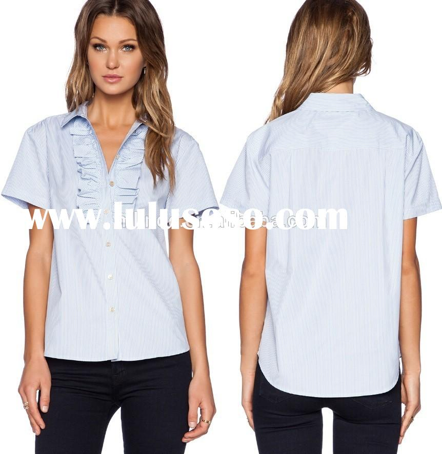 wholesale short sleeve summer office uniforms for ladies,fashion ruffle office uniform designs for w