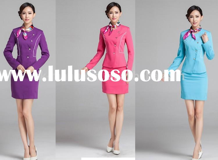 2014 new design fashion high quality airline long sleeve uniforms for women