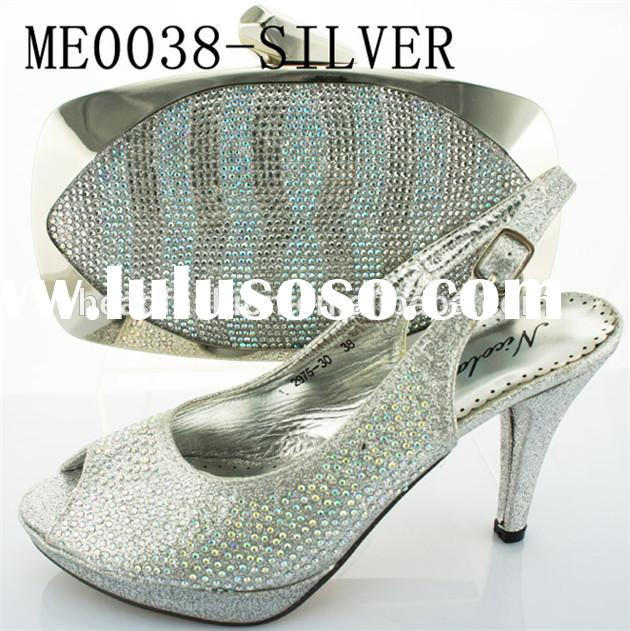 2014 wholesales silver italian matching shoes and bags / fashion design for ladies shes and matching