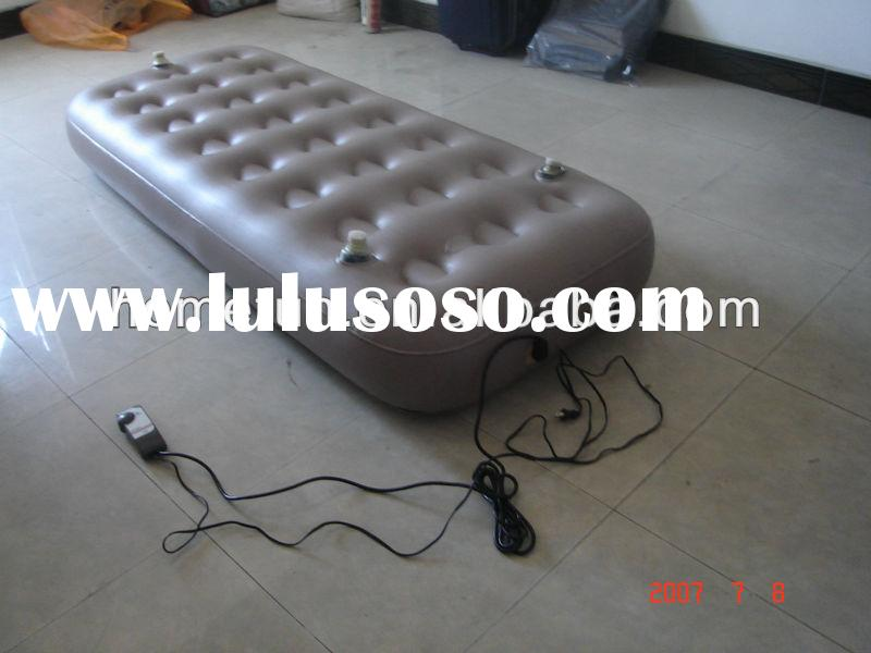 2015 customized ICTI inflatable flocked pvc mattress/air bed with build-in pump