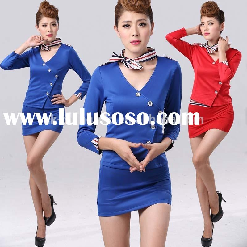 2015 latest design fashion high quality airline long sleeve uniforms for women