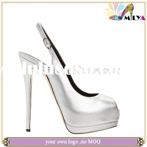 China hot sale brand silver/gold wedding shoes match bag lady high heel platform pumps fashion sling