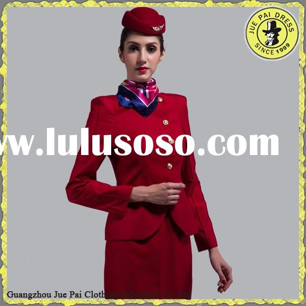Fashion design red airline uniform for women