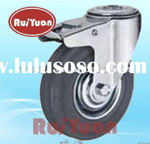 Gray Rubber industrial locking caster wheels