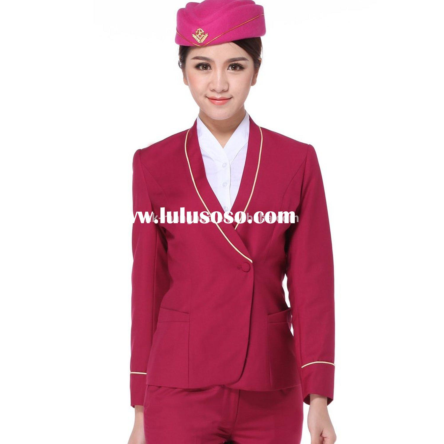 Hign quality wholesale airline uniform for stewardess with OEM