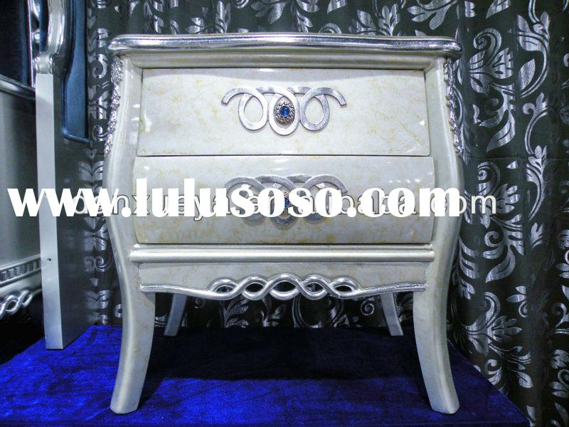 Hot Sale Silver Carved nightstand french style bedroom furniture
