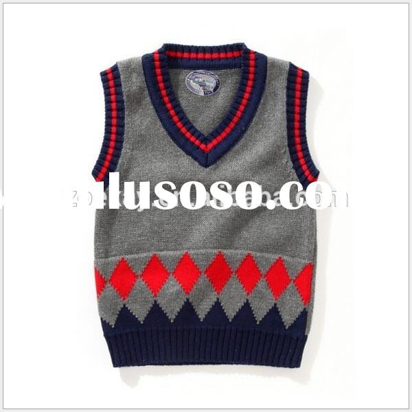 OEM Factory China Knitted Pullover Boys Knitted Vest Pattern Jacquard Knitting Sweater