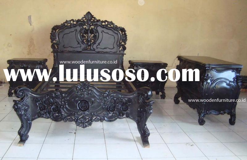 Rococo Bed Set Vintage Wooden Bed Antique Reproduction Furniture French Provincial Bed Room European