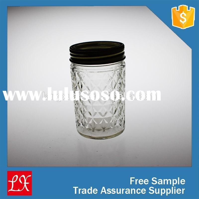 china wholesale carved clear glass jam jars with metal lid