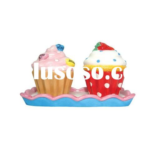 cupcake shaped ceramic custom wholesale cheap salt container