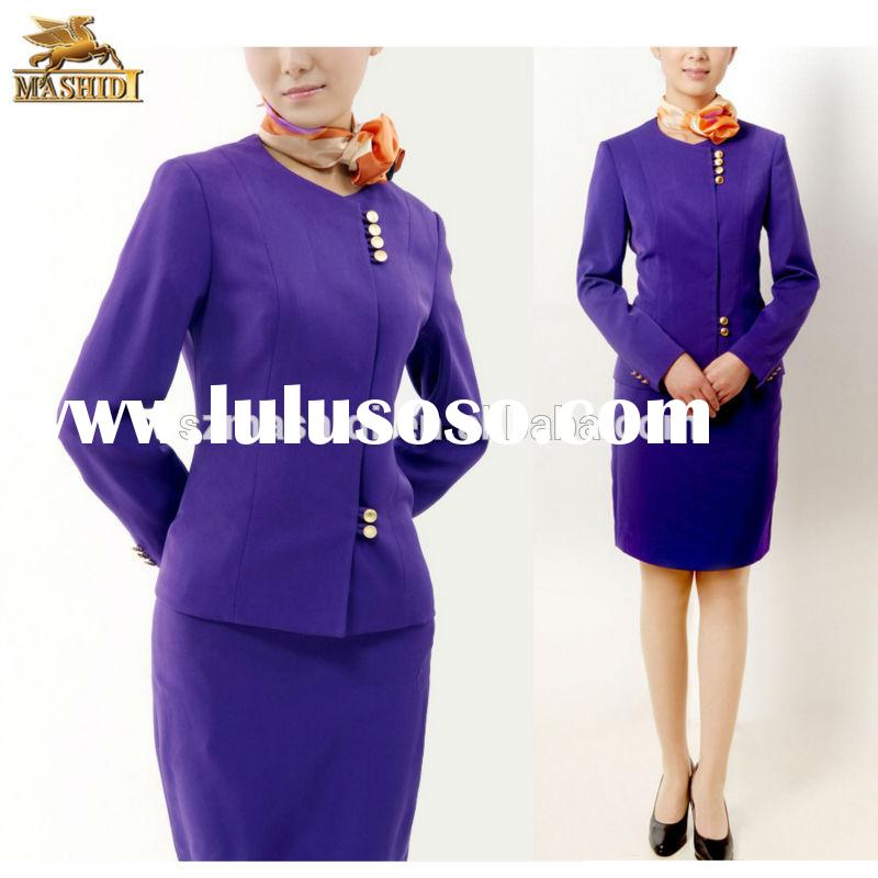 customized color &size polyester/ cotton high quality hostess uniform & airline uniform for