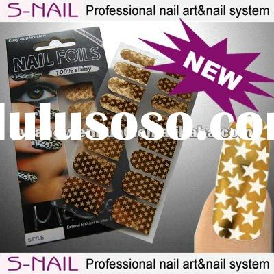 2014 hot sale metallic nail art stickers foil sticker for nail art (SNF005)