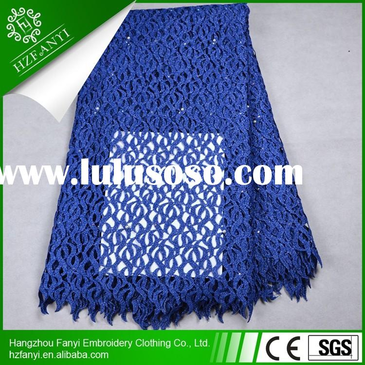 2015 African chemical Water Soluble lace fabric new york wholesale african cord / guipure lace fabri