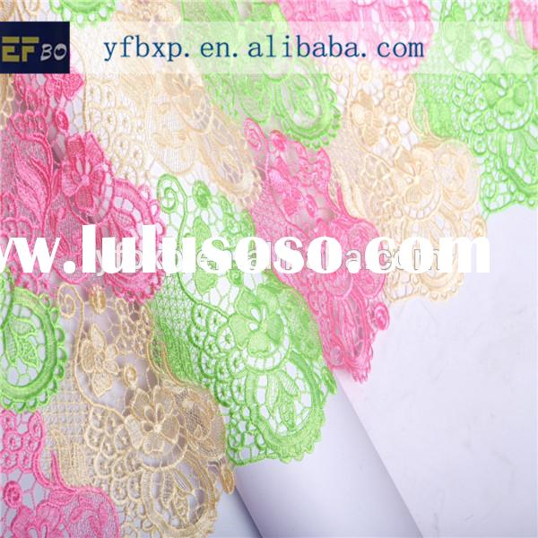 2015 new york wholesale flower multicolored korean african cord embroidery fabric/Guipure nigerian l
