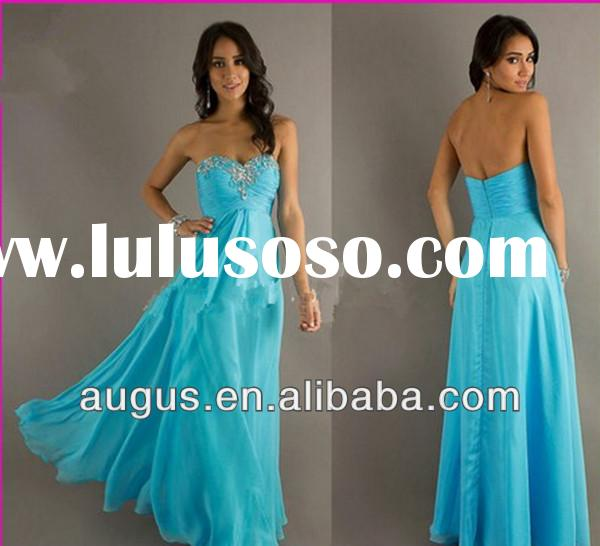 ACL3427 New Arrival Real Sample Backless Bead Crystal Blue Formal Girls Wedding Party Dress