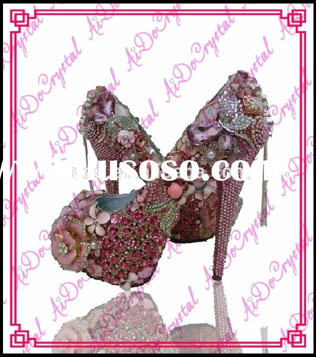 Aidocrystal Pink with hot pink Crystals Luxury handmade Bridal high heels for party closed toe women