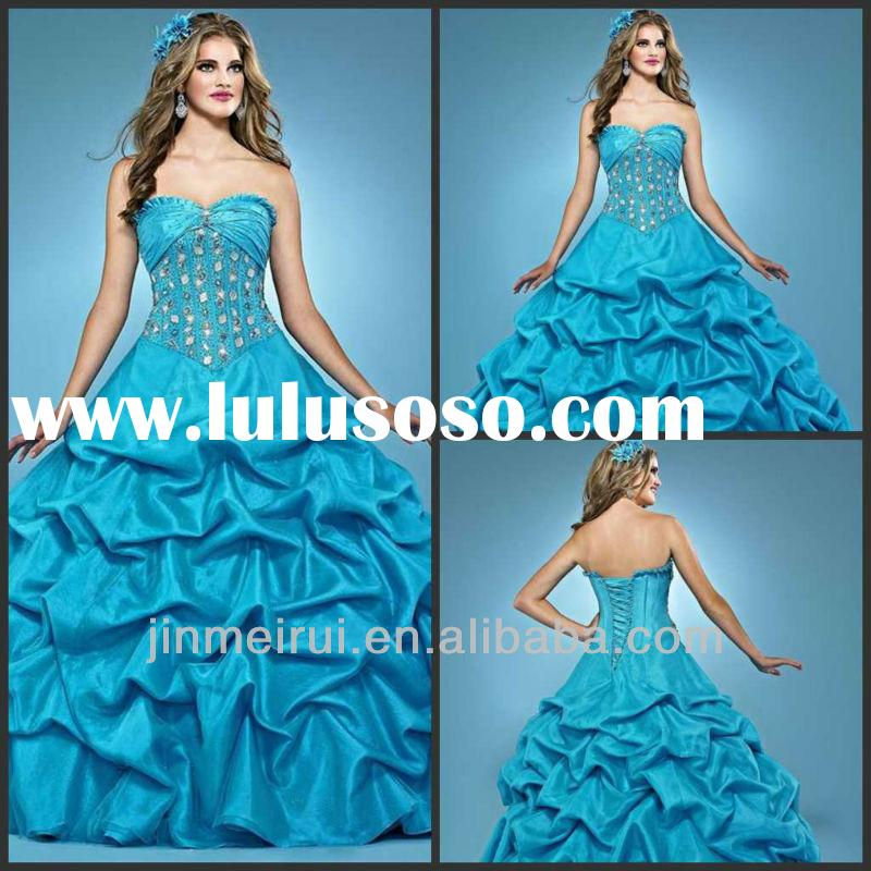 Ball Gown Floor Length Sweetheart Crystal Taffeta Royal Blue Quinceanera Dresses DQ014