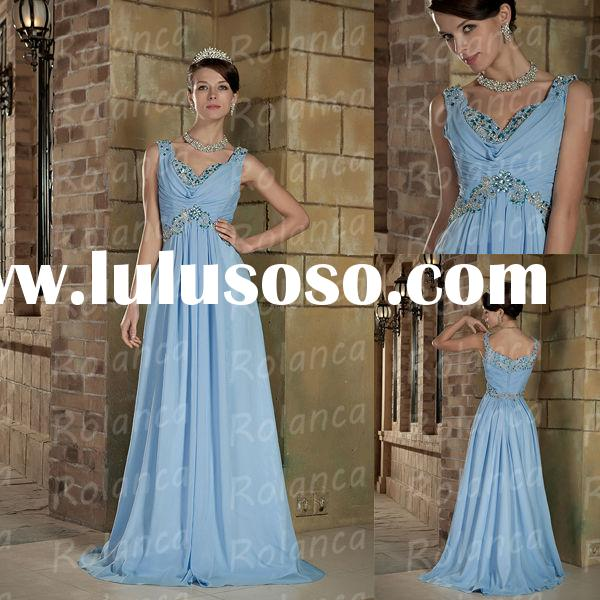 Beach wedding floor length A line sleeveless crystal rhinestone royal blue wedding dresses CXH1011