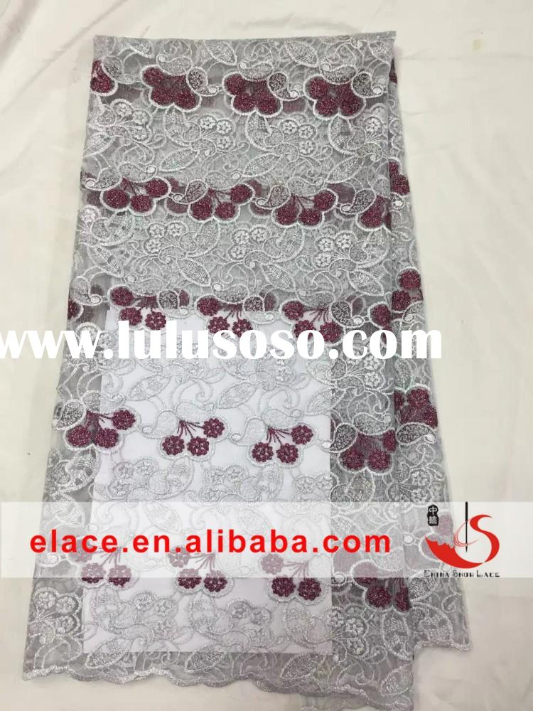 Charming high quality african new york wholesale lace embroidery fabric for wedding party dress