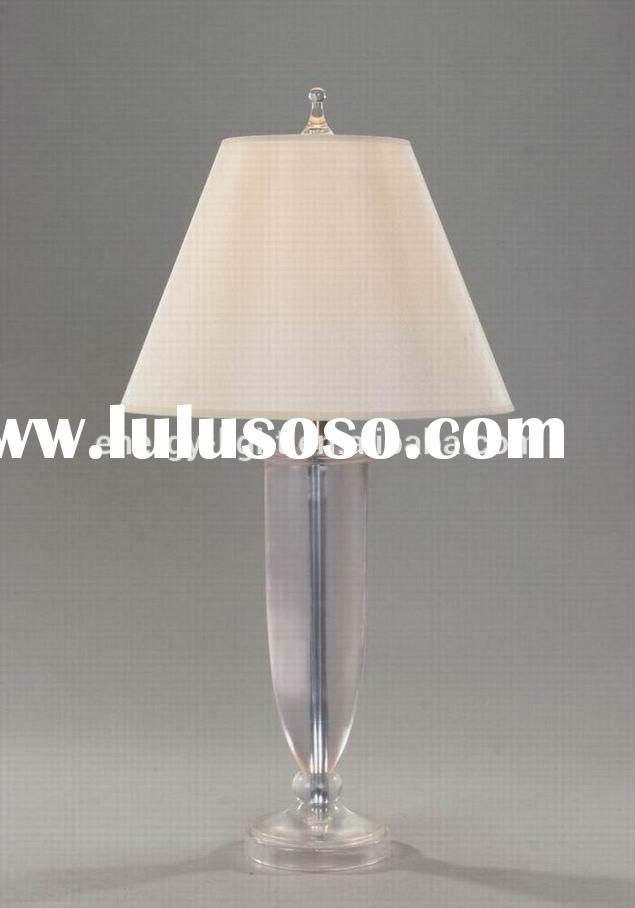 Clear Acrylic Table Lamp/Light With White TC Shade