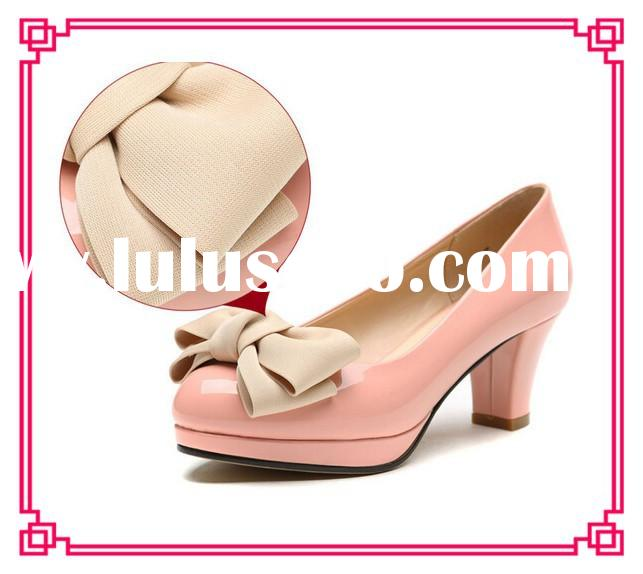 Fashion thick mid heel pump women shoes pink shoes high heel