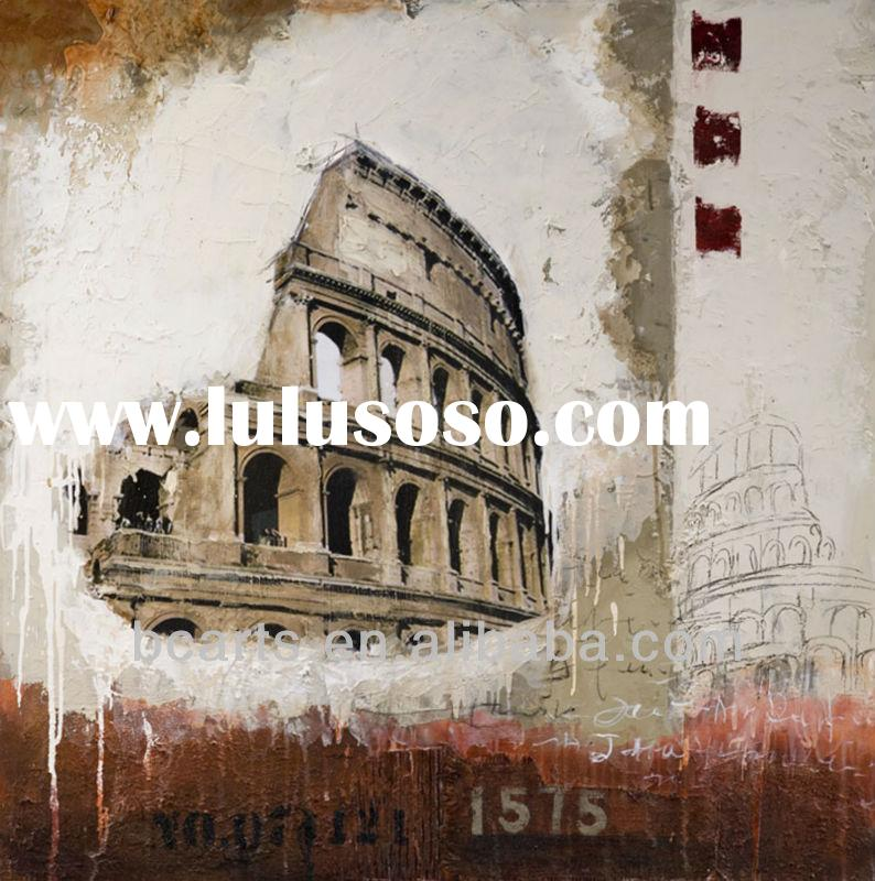 Handmade Modern Famous building oil paintings reproduction for sale, canvas stretched art for wall d