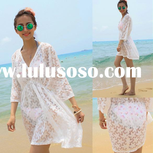 High Quality Women's Summer Hollow Lace Flower Swimwear Bikini Cover Up beach cover up Dress
