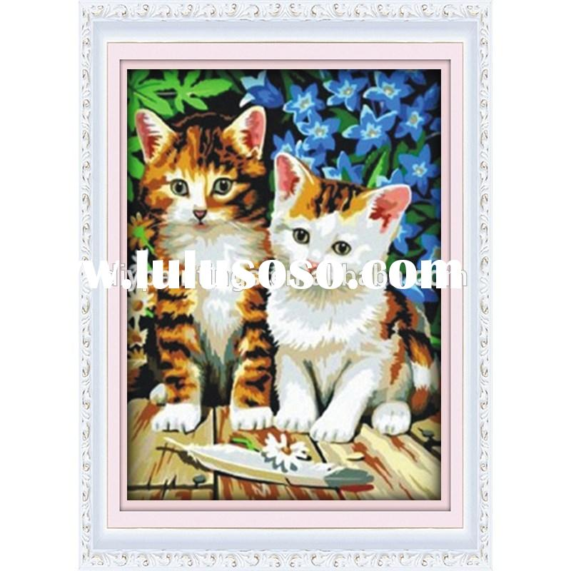 Hot sale cat design abstract oil painting handmade for living room