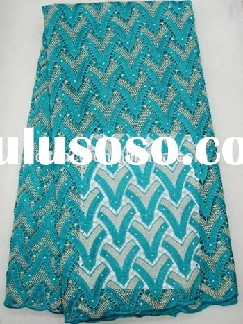 J402-4 teal new york high quality cotton african nigeria multi color guipure embroidery lace fabric