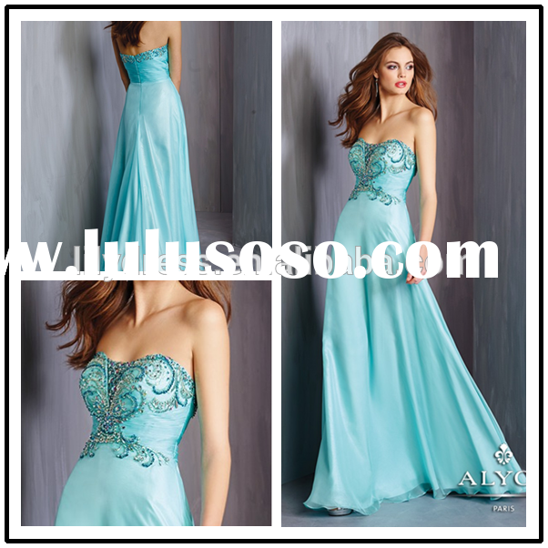 Ladies Light Blue Crystal Beading Customized Prom Party Evening Dresses Vestidos PDC004 blue princes
