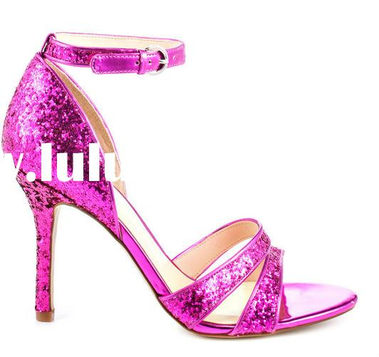 Latest girls hot pink glitter high heel sandals 2014 new model sandal ladies shoes 2014 designs fash