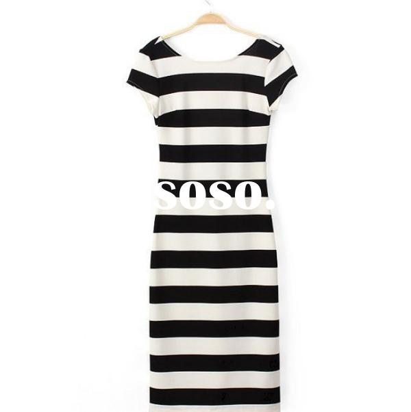 NZ1001 navy style black and white striped dresses fashion newest open backless women long dress
