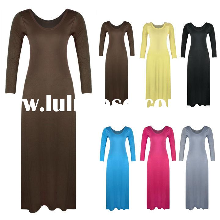 New Women's Solid Color cheap long sleeve women summer long cotton dresses